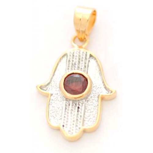 Gold Filled 2 Tone Hamsa Pendant with Garnet