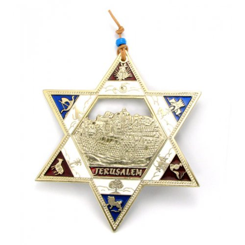 Gold Plated Star of David Wall Hanging with Twelve Tribes and Jerusalem Images