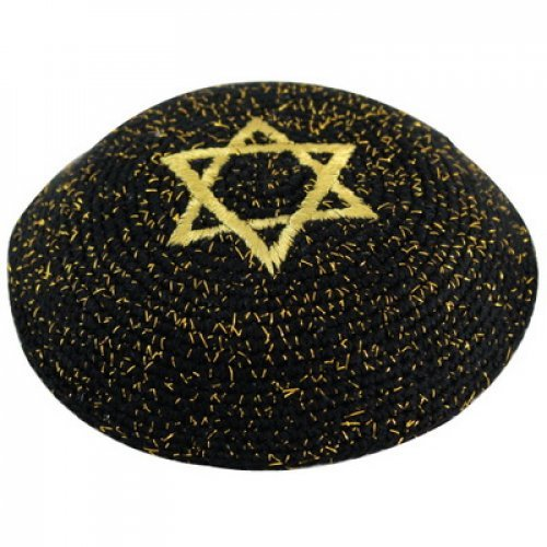 Gold-Black Knitted Kippah with Star of David
