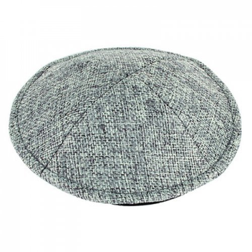 Gray Linen Flat Kippah – Small Stitch Weave