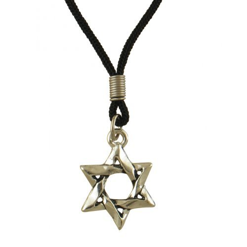 Great Price! Rhodium Large Star of David on Black Cord Necklace
