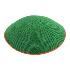 Green DMC Knitted Kippah with Orange Border