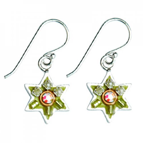 Green-Pink Star of David Earrings by Ester Shahaf
