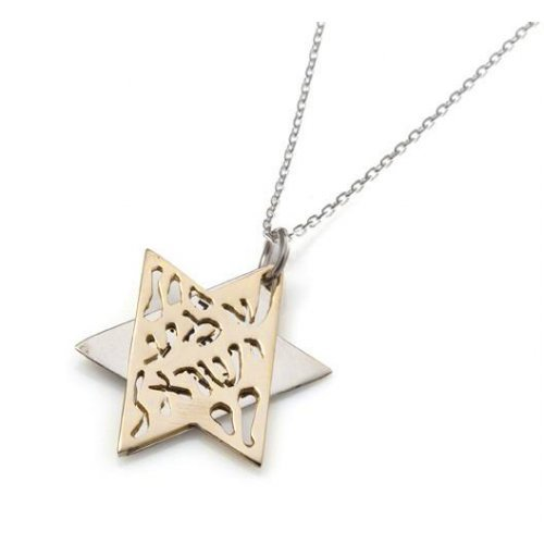 HaAri Jewelry Shema Yisrael Star of David Two-Tone Pendant 9K Gold & Sterling Silver