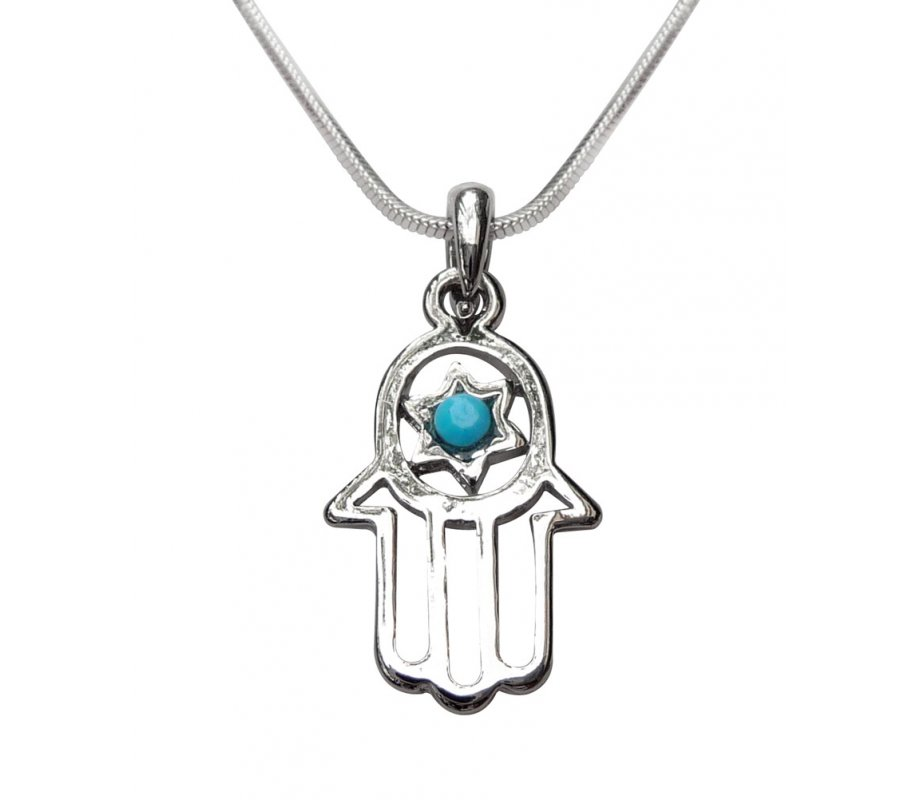 Hamsa Necklace in Rhodium with Blue Stone