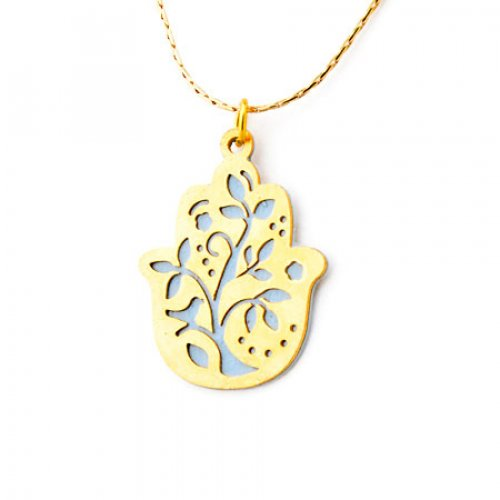 Hamsa Necklace with Flower by Shahaf