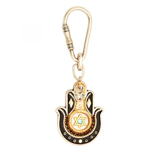 Hamsa keyring with Star of David by Ester Shahaf