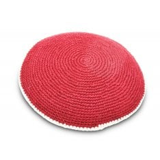 Hand Knitted Cotton Kippah - Deep Maroon with Beige Border