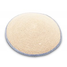 Hand Knitted Cotton Kippah - Solid Beige with Light Blue Border