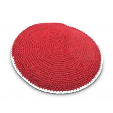 Hand Knitted Cotton Kippah - Solid Deep Maroon with White Border