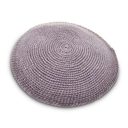 Hand Knitted Cotton Kippah - Solid Gray