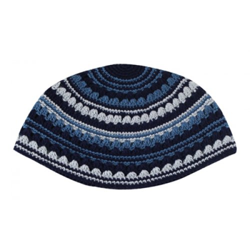Hand Made Frik Kippah with Blue and Black Stripes