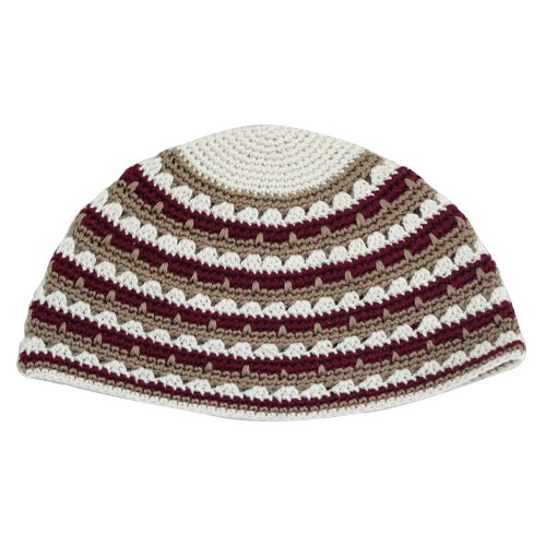 Hand Made Frik Kippah with Brown, Tan and White Stripes