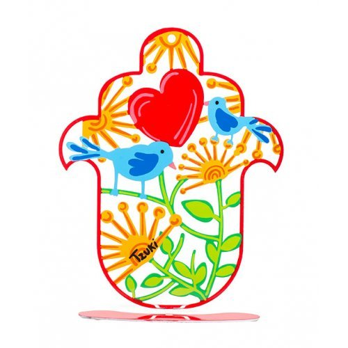 Hand Painted Hand Hamsa on Stand - Flowers, Heart, Love Birds