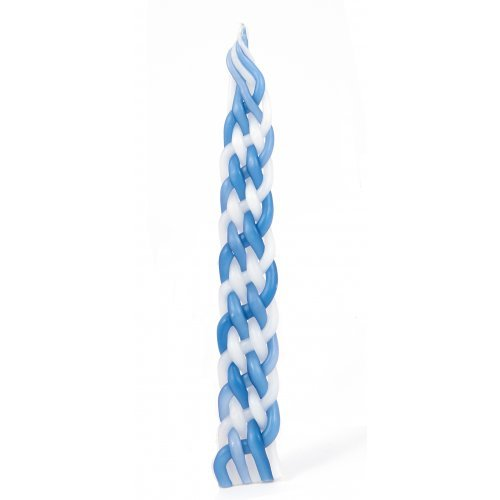 Handmade Havdalah Candle - Blue and White