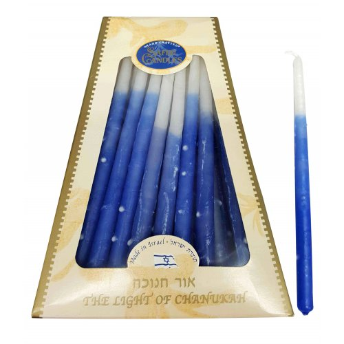 Handmade Safed Dripless Hanukkah Candles - Shades of Blue and White