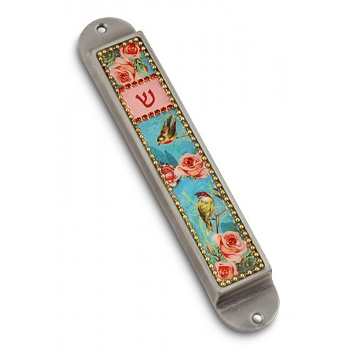 Iris Design Handcrafted Pewter Enamel Beaded Mezuzah Case - Roses and Birds