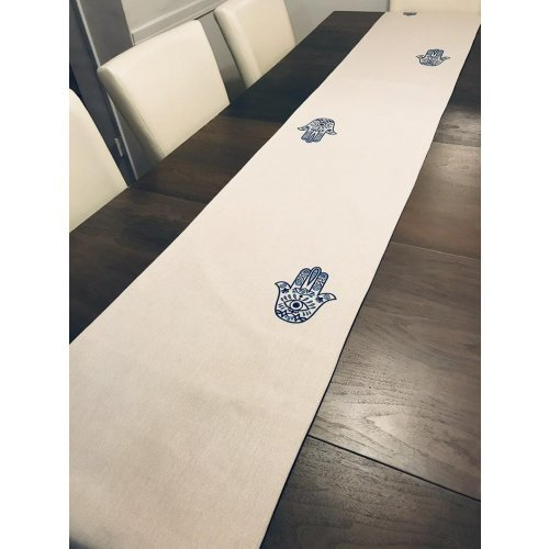 Ivory Table Runner with Blue Hamsa Design