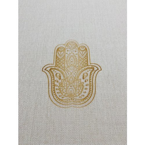 Ivory Tablecloth with Gold Judaica Symbols and Shabbat Shalom