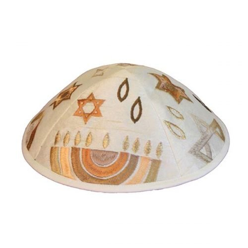 Judaic Symbols Embroidered Kippah by Yair Emanuel