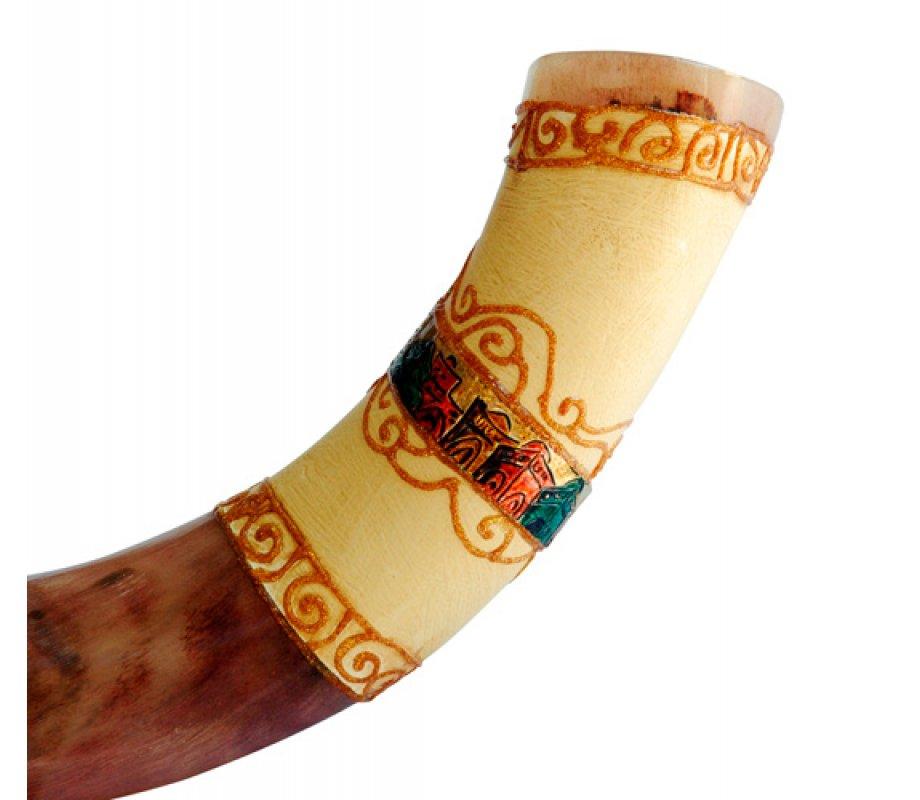 Jumbo yemenite hand painted shofar colorful jerusalem for Salon yemenite