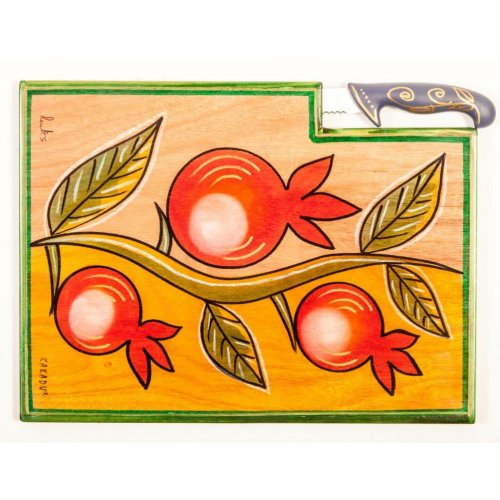 Kakadu Hand Painted Challah Board and Knife, Pomegranates