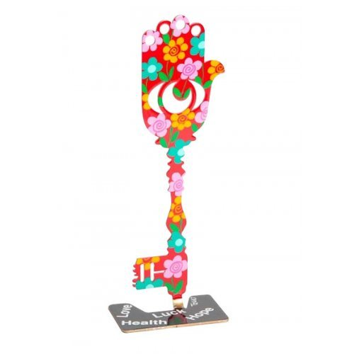 Key Hamsa Sculpture in Pink and Red by Tzuki Art