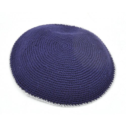Kippah, Hand Knitted - Solid Navy Blue with Silver Border