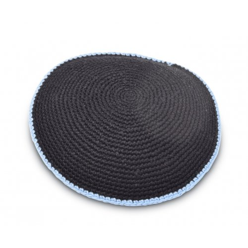 Kippah, Hand Knitted Cotton - Navy with Light Blue Border