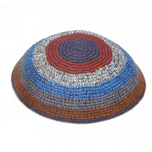 Knitted Kippah in Shades of Brown, Blue and Red