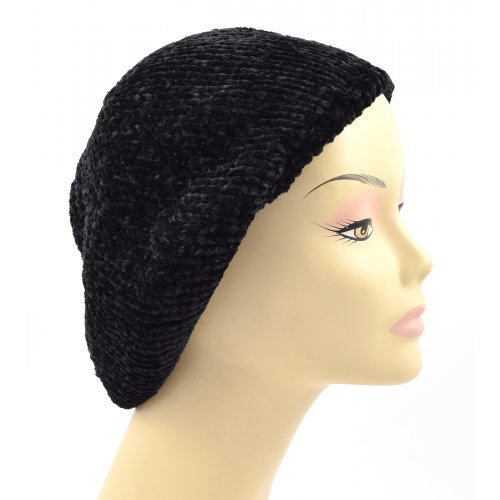 Knitted Women's Snood Beret with Inner Elastic Drawstring - Black