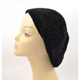 d1ee83d2 Knitted Women's Snood Beret with Inner Elastic Drawstring - Black with  Silver