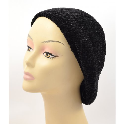 Knitted Women's Snood Beret with Inner Elastic Drawstring - Black with Silver