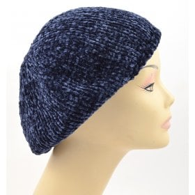 dc23e806 Knitted Women's Snood Beret with Inner Elastic Drawstring - Blue