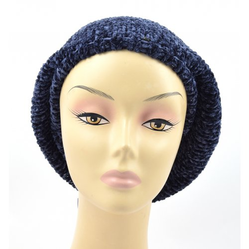 Knitted Women's Snood Beret with Inner Elastic Drawstring - Blue with Silver