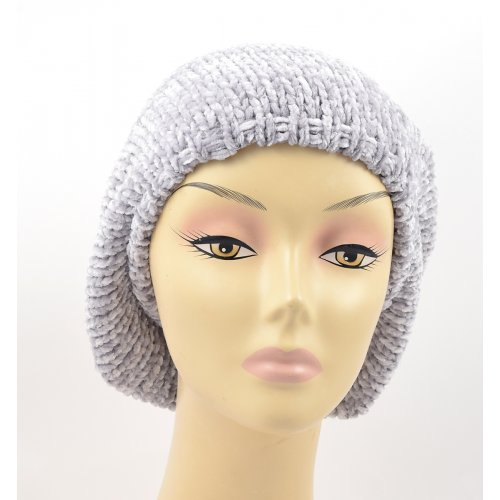 Knitted Women's Snood Beret with Inner Elastic Drawstring - Gray with Silver