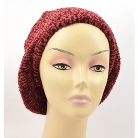 71389432 Knitted Women's Snood Beret with Inner Elastic Drawstring - Maroon