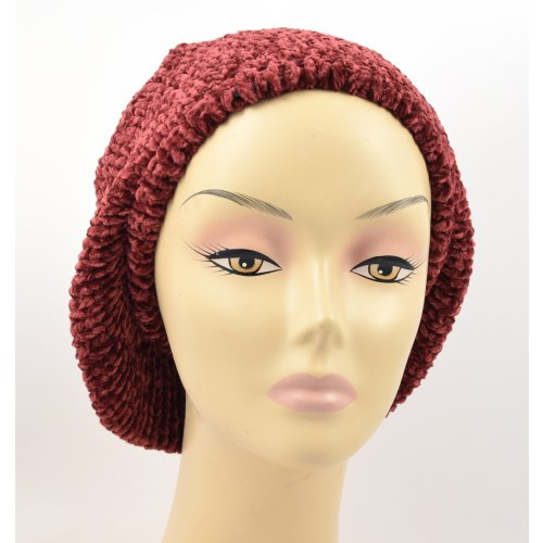 Knitted Women's Snood Beret with Inner Elastic Drawstring - Maroon