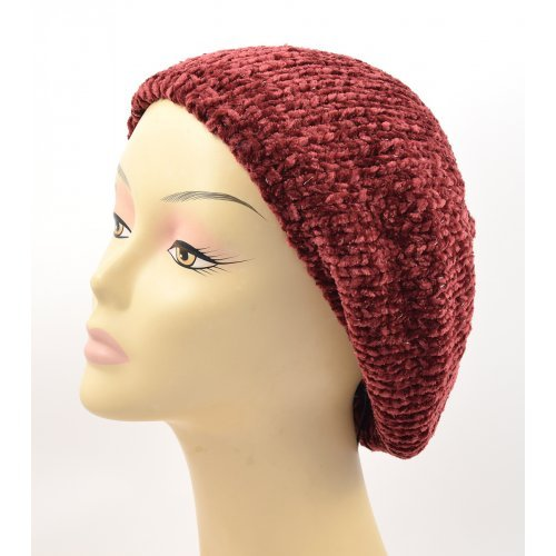 Knitted Women's Snood Beret with Inner Elastic Drawstring - Maroon with Silver