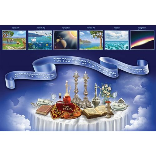 Laminated Colorful Wall Poster - Shabbat and Seven Days of Creation