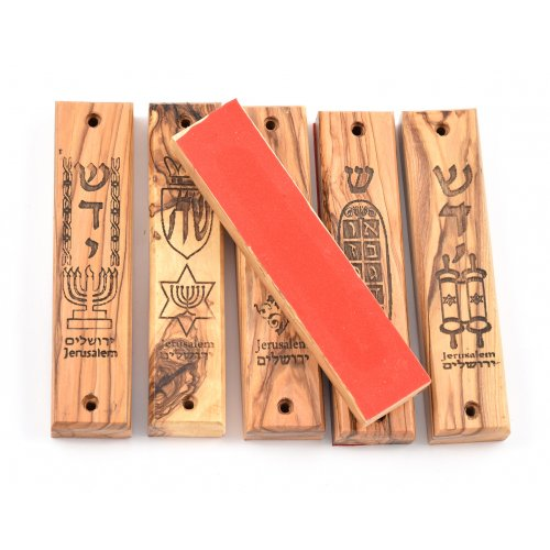 Large Olive Wood Mezuzah Cases with Symbols - 6 Pack