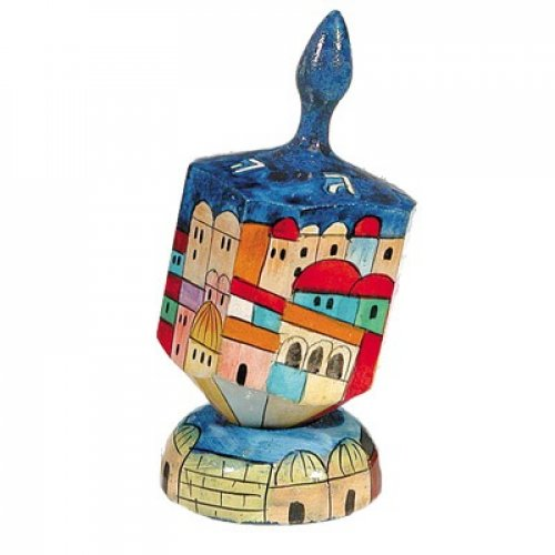 Large Painted Wooden Dreidel on Stand by Emanuel - Jerusalem View