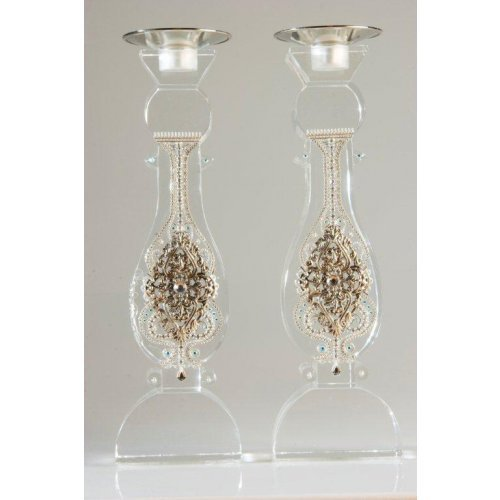 Large Shabbat Crystal Candlesticks by Ester Shahaf