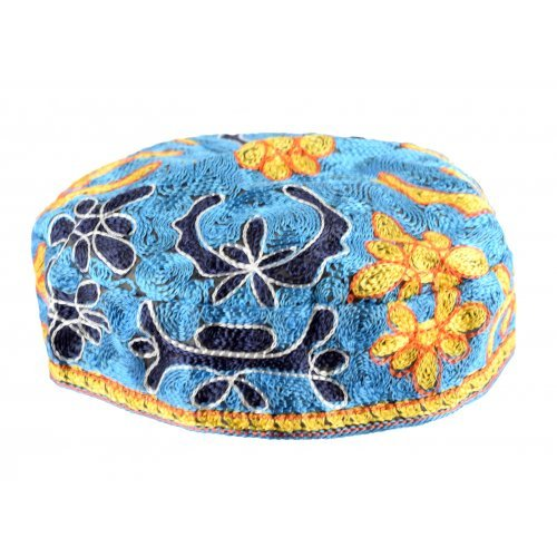 Light Blue Bucharian Hand Embroidered Kippah