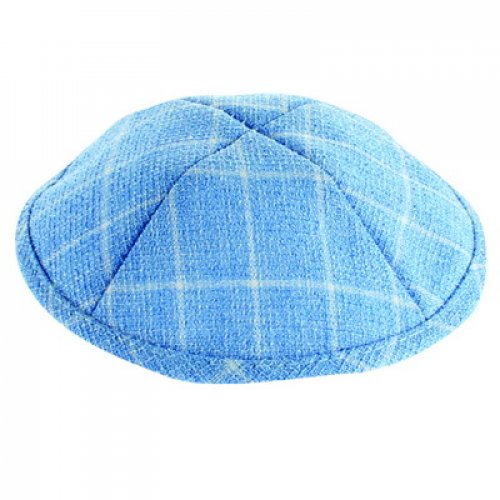 Light Blue and White Cotton Fabric Kippah – Checkered Design