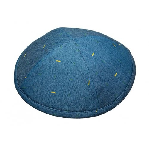 Light Denim with Gold Line Design Fabric Kippah