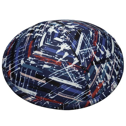 Lively Blue and Red Paint Brush Design Fabric Kippah