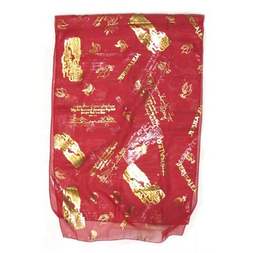 Lively Cherry-red Chiffon Head Scarf – Jerusalem Gold Design