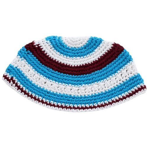 Lively Turquoise, White and Maroon Frik Kippah