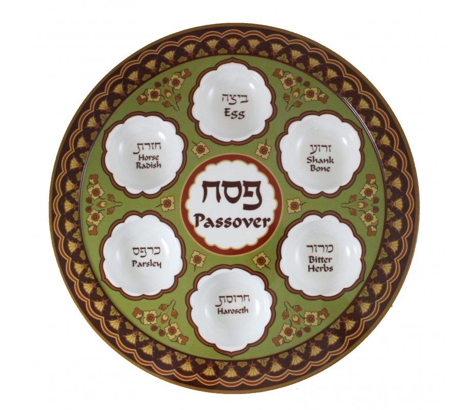 Melamine Passover Seder Plate In Shades Of Brown Ajudaica